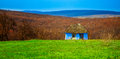 Blue old cottage abandoned during spring time in romania Royalty Free Stock Images