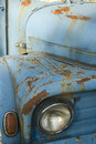 Blue old-fashioned car Royalty Free Stock Images