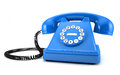 Blue old fashioned phone d illustration of on white background Stock Photography