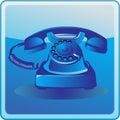 Blue old telephone Royalty Free Stock Photo