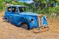 Blue Old Wreck Car