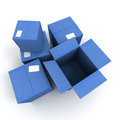 Blue Open and closed cartons Stock Photo