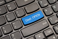 Blue open deal keyboard button Royalty Free Stock Photo