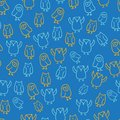 Blue orange cute owl illustration seamless pattern design background