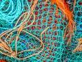 Blue and orange fishing nets Royalty Free Stock Photo