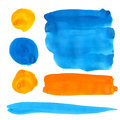 Blue and orange gouache paint stains and strokes Royalty Free Stock Photo