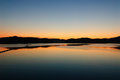 Blue and orange gradation of sunset on the jinyang lake in jinju korea Stock Photography