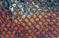 Blue and orange net structure abstract of fishing Stock Photo