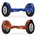 Blue and Orange Self-balancing scooter