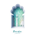 Blue Origami Mosque Window Ramadan Kareem Greeting card with arabic arabesque pattern.