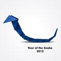 Blue origami snake Royalty Free Stock Photo