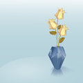 Blue origami vase with yellow roses vector illustration Royalty Free Stock Photos