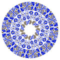 Blue ornamental round floral pattern Stock Photography