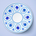 Blue ornamental vector plate in traditional style russian Royalty Free Stock Photo