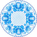 Blue ornate vector plate pattern in gzhel style floral Royalty Free Stock Image