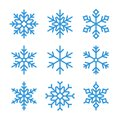 Blue outline snowflake icons, frozen star symbol Royalty Free Stock Photo