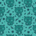 Blue owl baby pattern vector seamless with adorable friendly owls Stock Photos