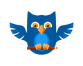 Blue owl creative with a pen Stock Photography