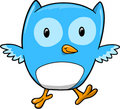 Blue Owl Vector Illustration Stock Photo