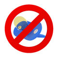 Blue Pacifier in Prohibition Sign. 3d Rendering