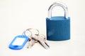 Blue padlock with keys Royalty Free Stock Photo