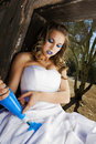 Blue Paint Bride Stock Photo