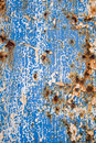 Blue paint and rust grunge background Royalty Free Stock Photo