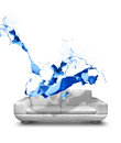 Blue paint splash white leather sofa about to hit Stock Photography