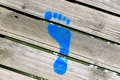 Blue Painted Footprint Royalty Free Stock Photo