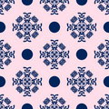 Blue and Pale Pink Damask Seamless Pattern Stock Image