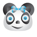 Blue panda a with eyes and bow Royalty Free Stock Photo