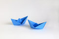 Blue paper boats Royalty Free Stock Photography