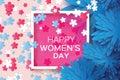 Blue Paper flower. Sakura blossom. Women`s Day. 8 March. Square frame