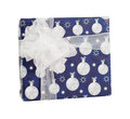 Blue paper gift box white baubles balls decor isolated Royalty Free Stock Photo