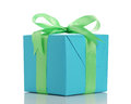 Blue paper giftbox with green ribbon bow isolated Royalty Free Stock Photo