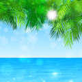 Blue paradise summer paradize view at ocean under the tropical leaves Stock Image