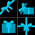 Blue parcel collection with ribbon Royalty Free Stock Photo