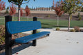 Blue Park Bench Royalty Free Stock Photo