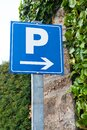 Blue parking sign Europe, France Royalty Free Stock Photo