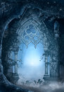 Blue passage fantasy in the middle of the forest Royalty Free Stock Photos