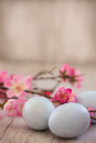 Blue Pastel Colored Easter Eggs and Cherry Blossom Flowers