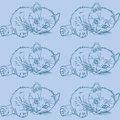 Blue pattern with cats Royalty Free Stock Photos