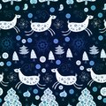Blue pattern with deers for christmas the bright winter seamless Royalty Free Stock Photo