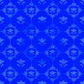 Blue pattern with floral decorations Stock Photography