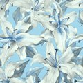 Blue pattern with lilies. Floral seamless background