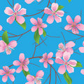 Blue pattern with peach flowers - vector Stock Image