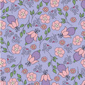 Blue pattern with pink flowers Stock Image