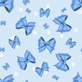 Blue pattern with white dots and bows