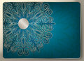 Blue patterned background gift card on a the idea for a christmas or wedding card invitation Stock Image