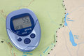 Blue Pedometer And Map Royalty Free Stock Image